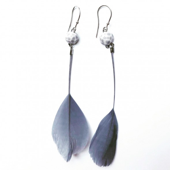 Dangle Earrings with Feather