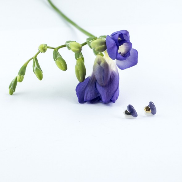 Porcelain Flora Earrings, Violet and White with Gold or Platinum