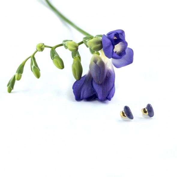 Porcelianiniai violetiniai auskarai Flora su auksu ar platina