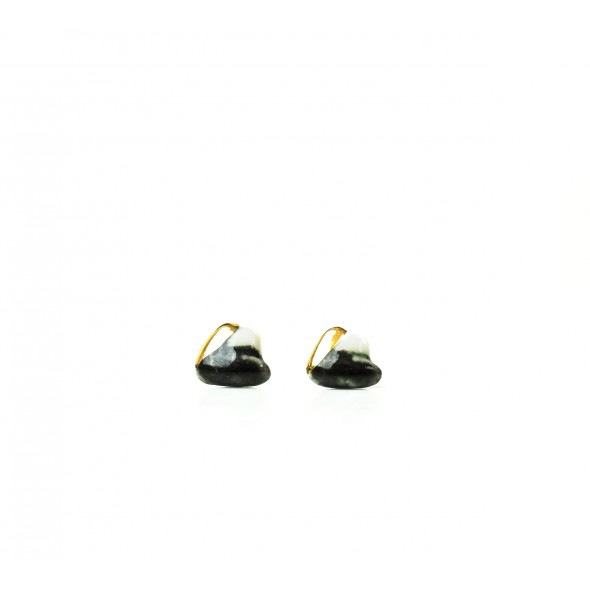 Flora Earrings, Black and White with gold