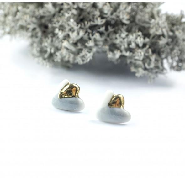 Porcelianiniai auskrarai Flora, pilki su auksu arba platina.