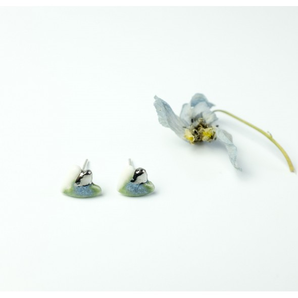 Flora Earrings, Light Blue and White with Platina