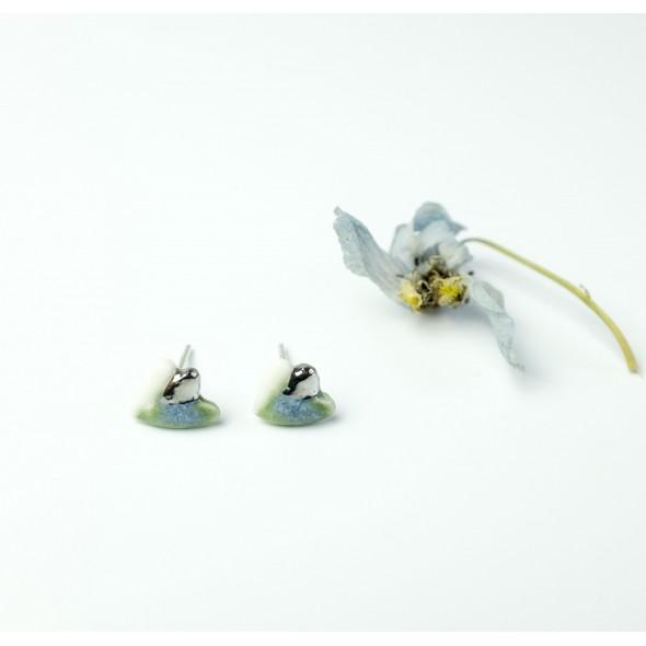 Flora Auskarai, šviesiai mėlyni su platina.