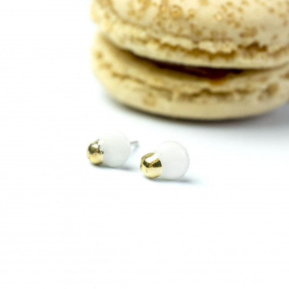 White Porcelain Small Earrings White with gold