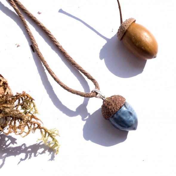 Blue Acorn Pendant Necklace From Oak Collection