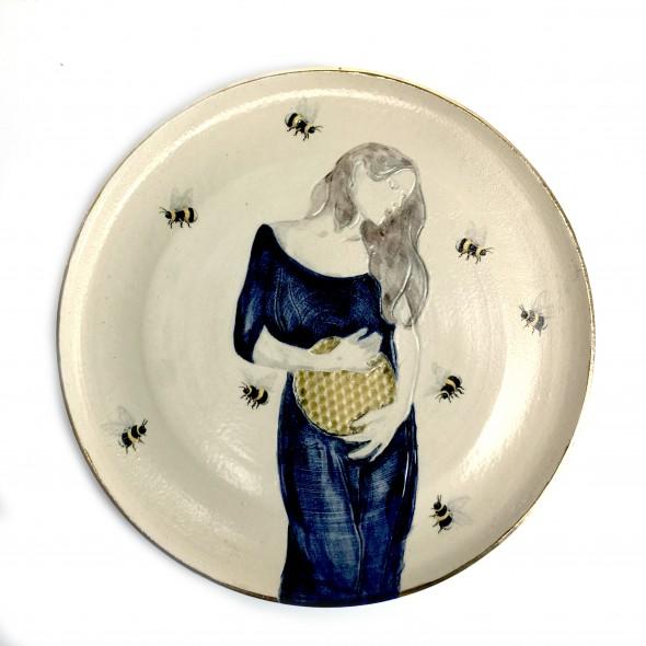 "Hand-painted Stoneware Serving Plate ""Austeja"""