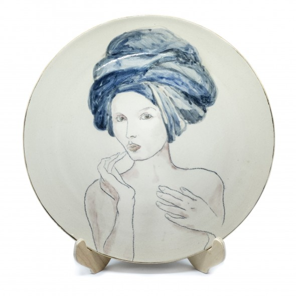Women with Blue. Hand-painted Stoneware Serving Plate