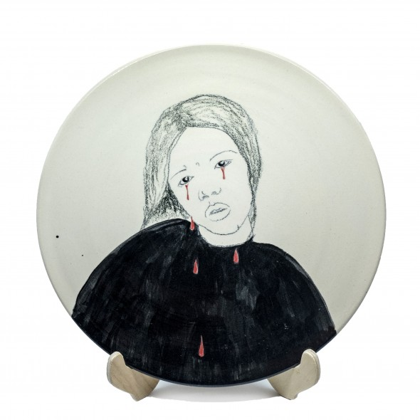 Bloody Tears, Hand-painted Stoneware Serving Plate