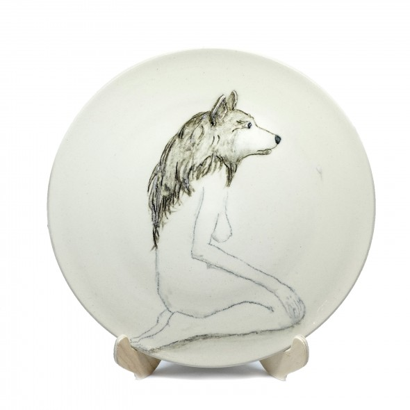 """Wild"", Hand-painted Stoneware Serving Plate"