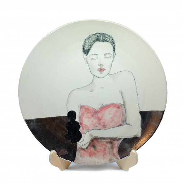 """""""Unborn"""", Hand-painted Stoneware Serving Plate"""