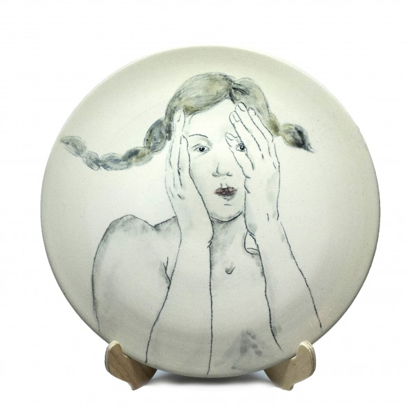 """Adult"", Hand-painted Stoneware Serving Plate"