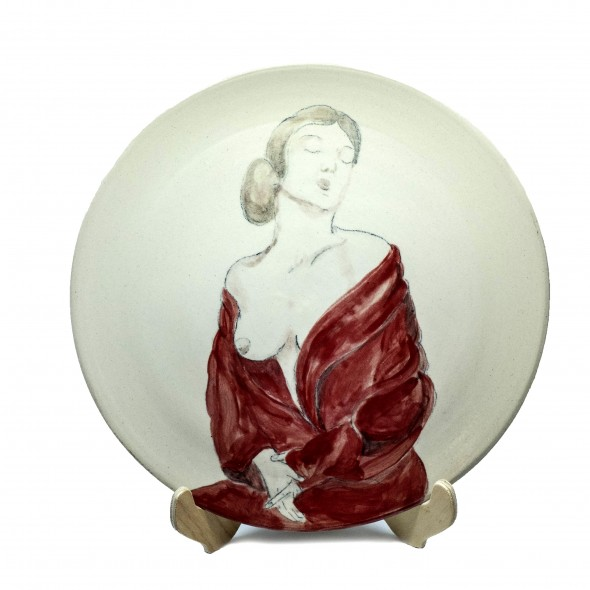 """After Bathing"",  Hand-painted Stoneware Serving Plate"