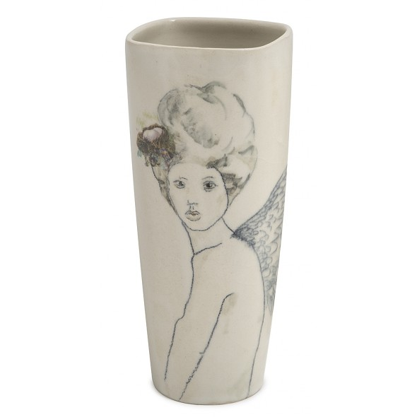 Stoneware Vase With A Hand-painted Girl Portrait