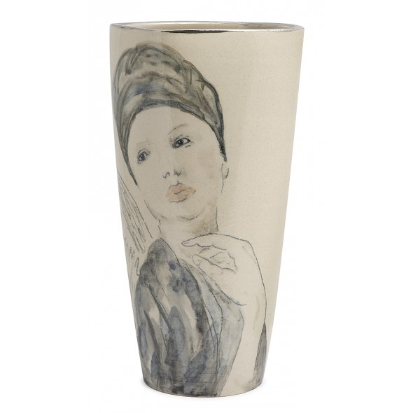 Stoneware Vase With A Hand-painted Adult Women