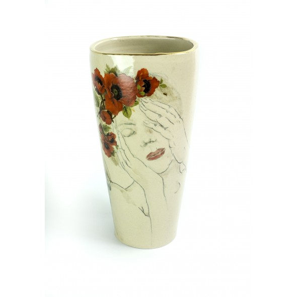Stoneware Vase With A Hand-painted Poppy Flower Women