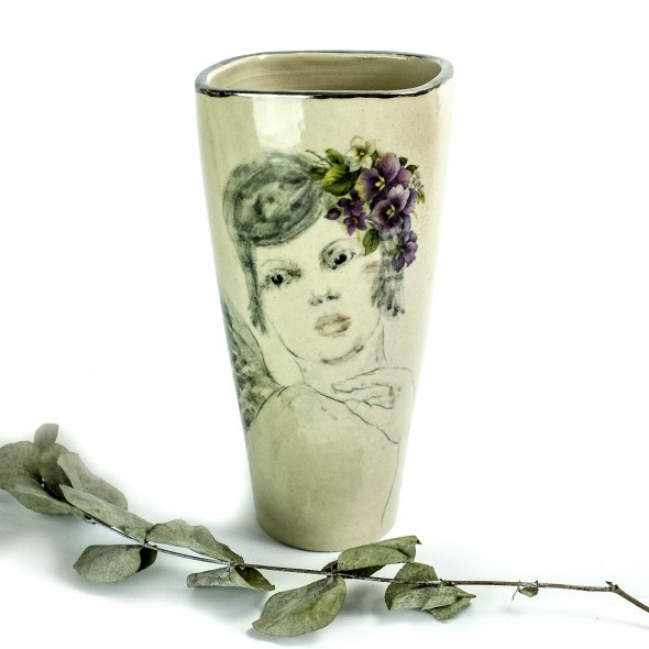 Stoneware Vase With A Hand-painted Women Viola