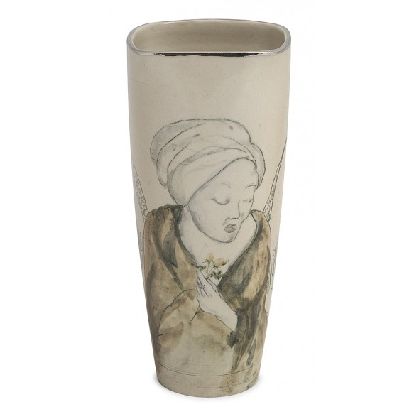 Stoneware Vase With A Hand-painted Woman. She is Patience