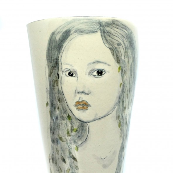 Stoneware Vase With A Hand-painted Woman. The Goddes of the Sea