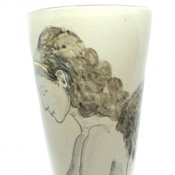 Stoneware Vase With A Hand-painted Woman. The Goddes of the Forest