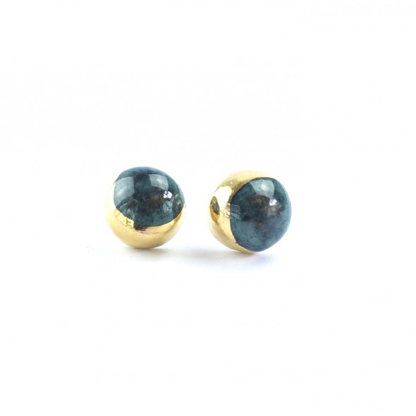 Emerald Stud Earrings From Moon Collection, Gold or Platinum Plated