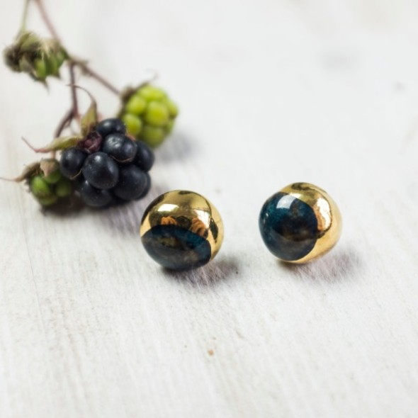 Dark Blue Stud Earrings with Gold from Moon Collection