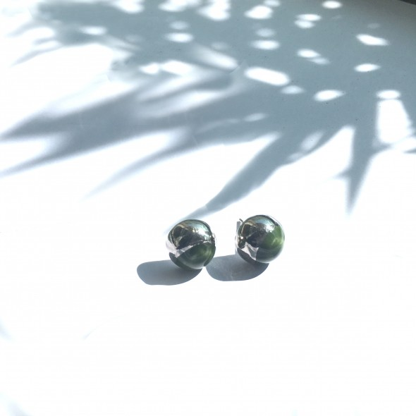 Kale Green Earrings From Moon Collection, Platinum Plated