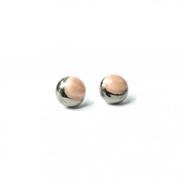Pink Stud Earrings From Moon Collection, Platinum Plated