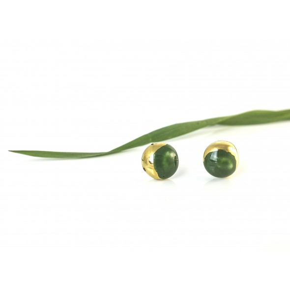 Kale Green Earrings From Moon Collection, Golden Plated