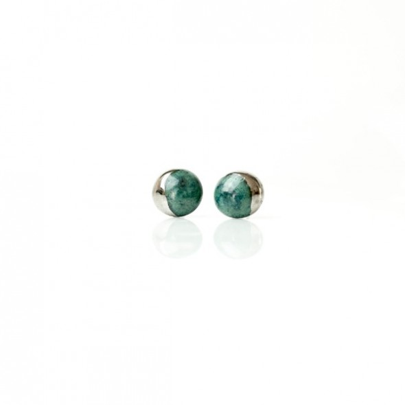 Emerald Stud Earrings From Moon Collection, Platinum Plated