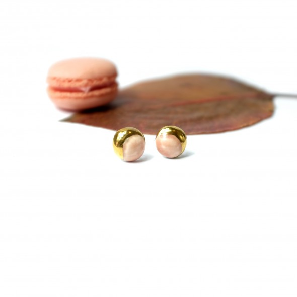 Pink Stud Earrings From Moon Collection, Gold  or Platinum Plated