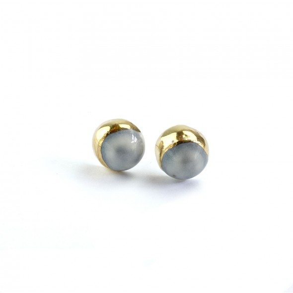 Grey Stud Earrings From Moon Collection, Gold Plated