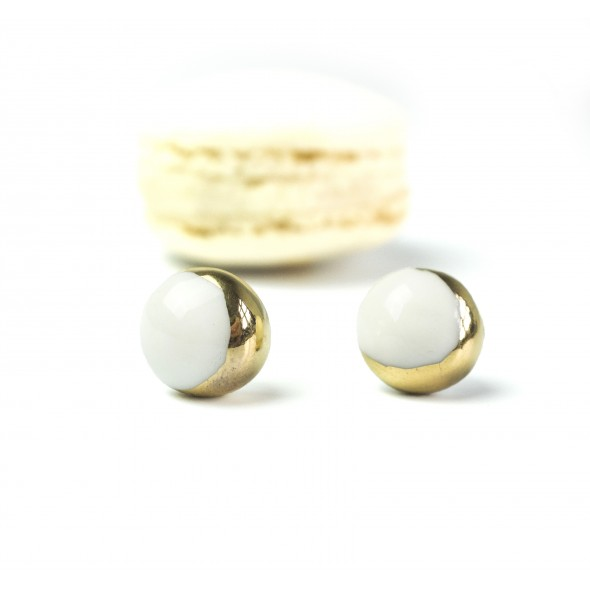 White And Golden Earrings From Moon Collection