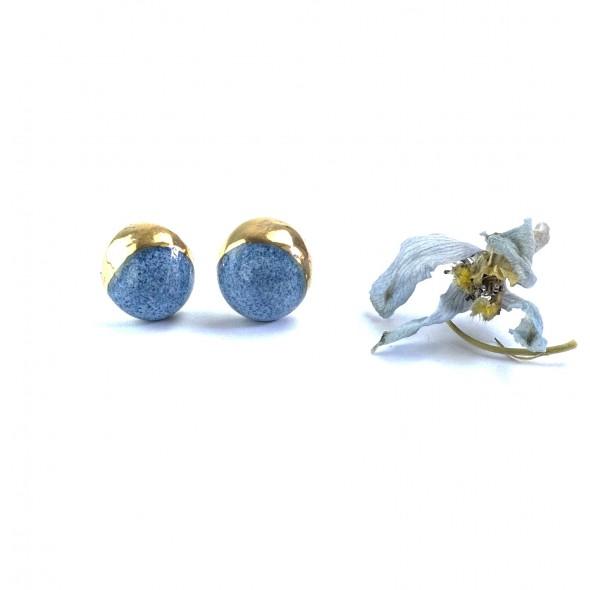 Šviesiai Mėlyni Auskarai iš Mėnulio kolekcijos, Dengti Auksu