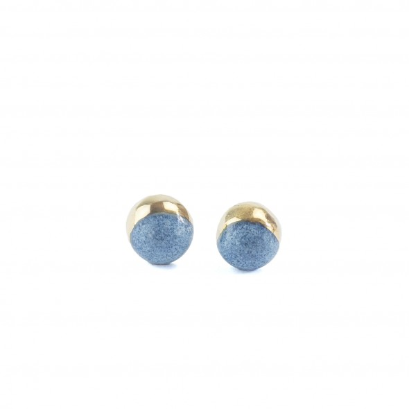 Light Blue Stud Earrings From Moon Collection,  Gold or Platinum Plated