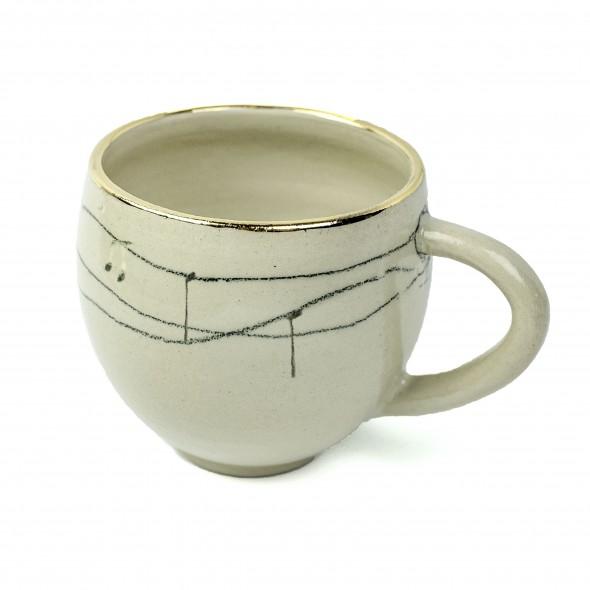 Music Decor Hand-painted Mug, Gold decor