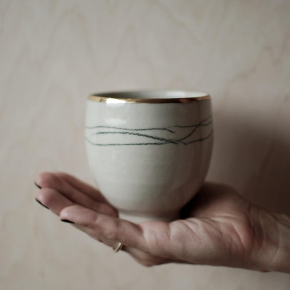 Minimalist Decor Hand-painted Mug, Gold Plated