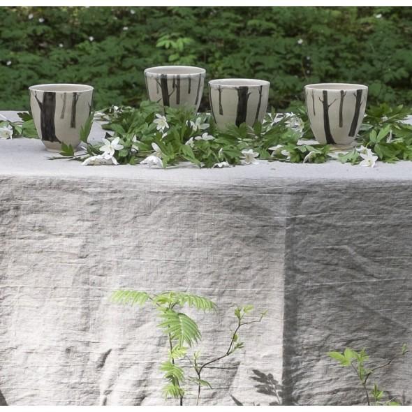 Handmade Pottery Mug With Forest Decor