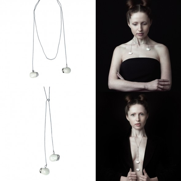 White And Gold or Platinum Pendant Necklace From Collection Beans