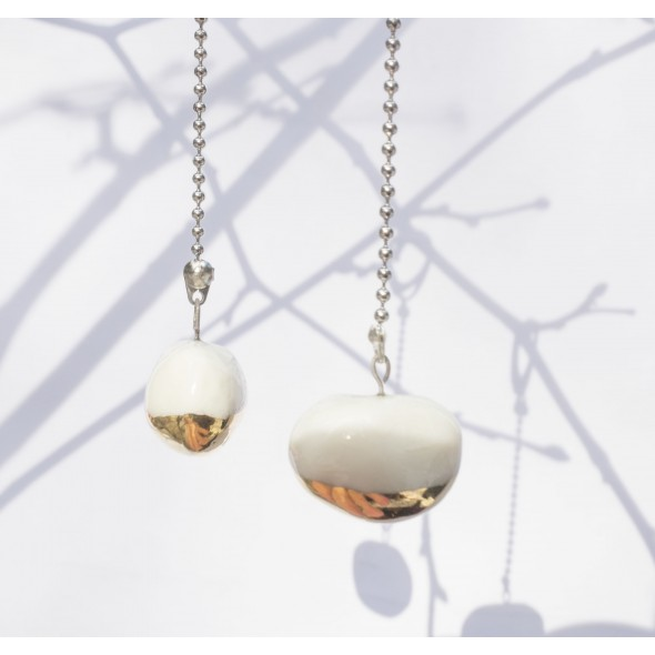 Dangle Asymmetric Earrings, White And Golden Earrings From Bean Collection