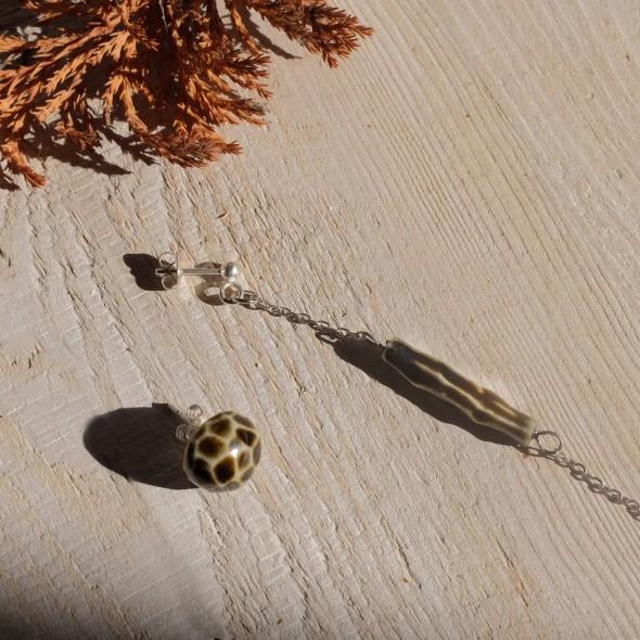 Ribbed Stud, Dangle or Asymmetric Brown Earrings