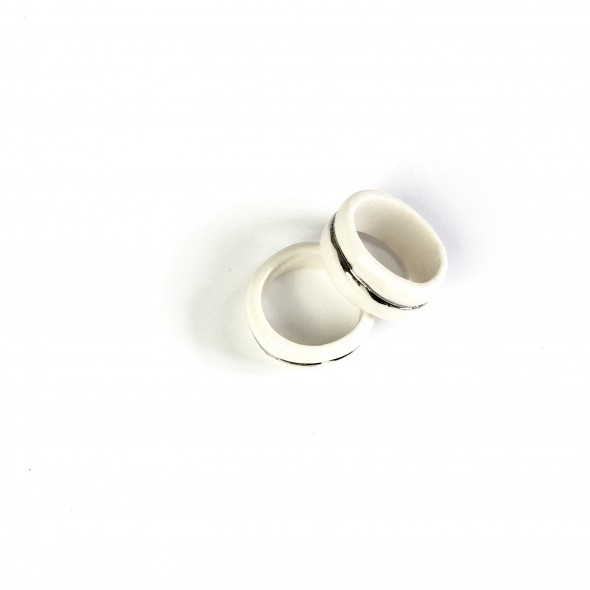 Porcelain White Ring  with Platinum Line