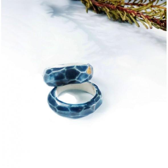 Mėlynas dengtas auksu porceliano žiedas