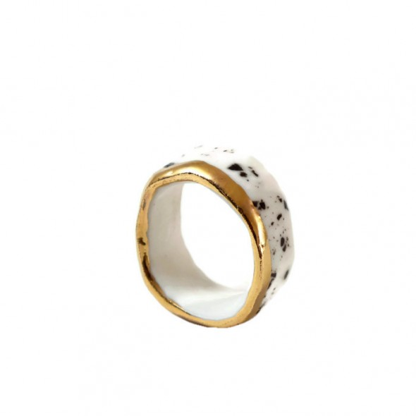 White with Black Drops And Golden Ring