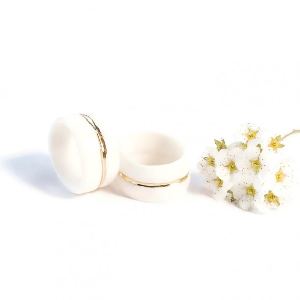 Porcelain White Ring  with Golden Line
