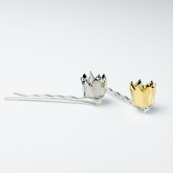 Crown Pin for Hair, Gold Porcelain Crown Pin for Queens